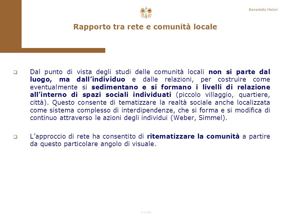 Rapporto tra rete e comunità locale