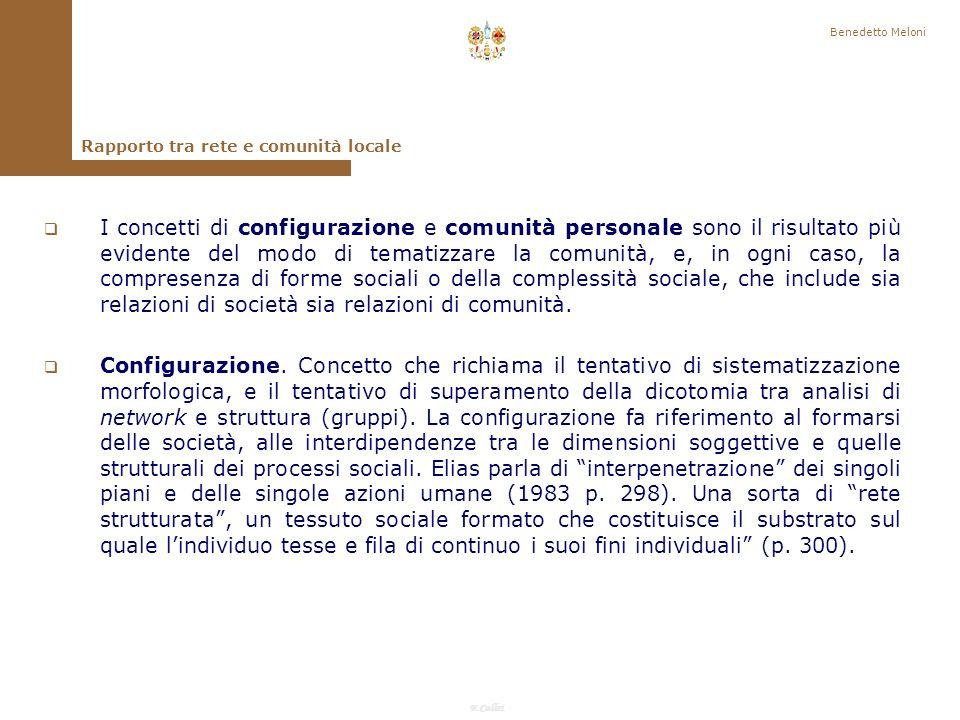 Benedetto Meloni Rapporto tra rete e comunità locale.