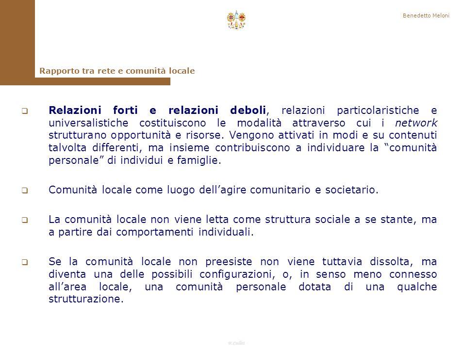 Comunità locale come luogo dell'agire comunitario e societario.