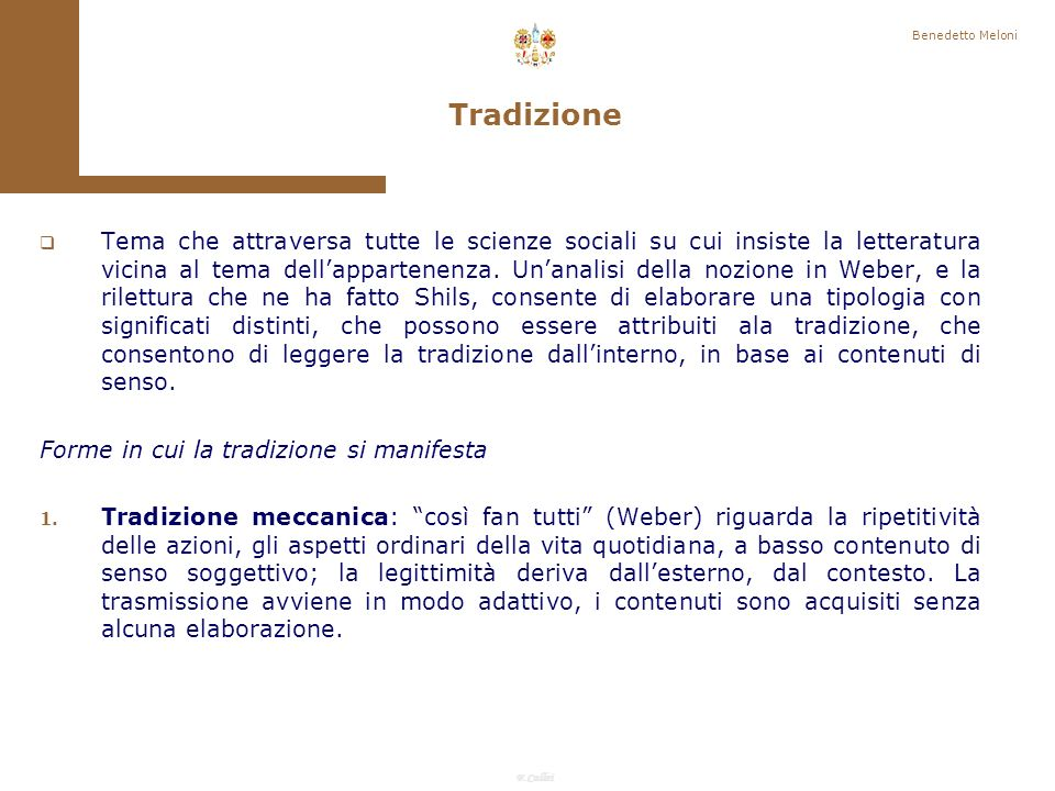 Benedetto Meloni Tradizione.