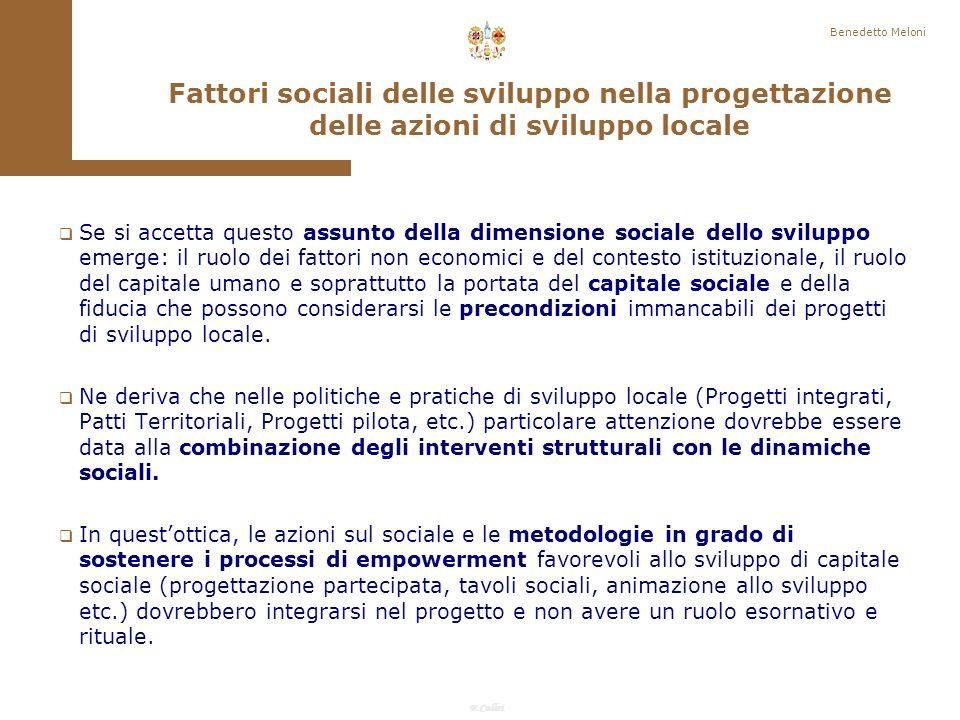 Benedetto Meloni Fattori sociali delle sviluppo nella progettazione delle azioni di sviluppo locale.