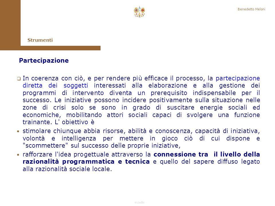 Benedetto Meloni Strumenti. Partecipazione.