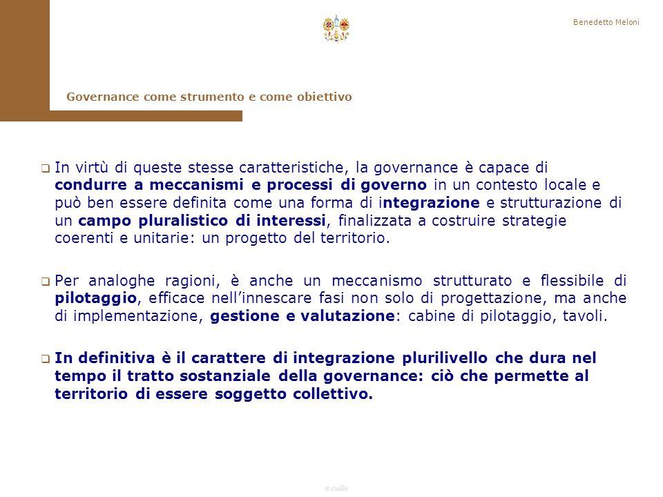 Benedetto Meloni Governance come strumento e come obiettivo.
