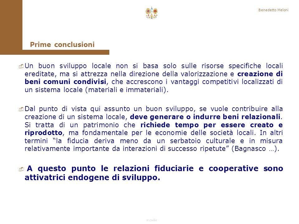 Benedetto Meloni Prime conclusioni.