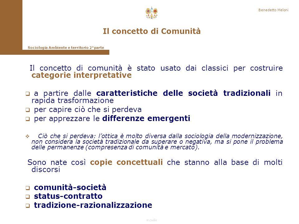 Il concetto di Comunità Sociologia Ambiente e territorio 2°parte