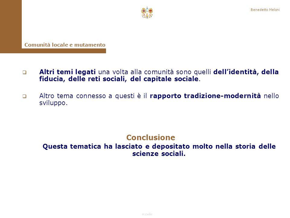 Benedetto Meloni Comunità locale e mutamento.