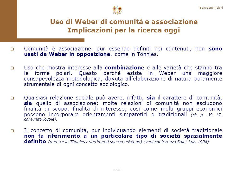 Uso di Weber di comunità e associazione