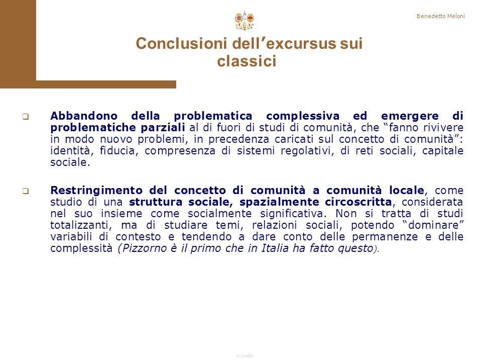 Conclusioni dell'excursus sui classici