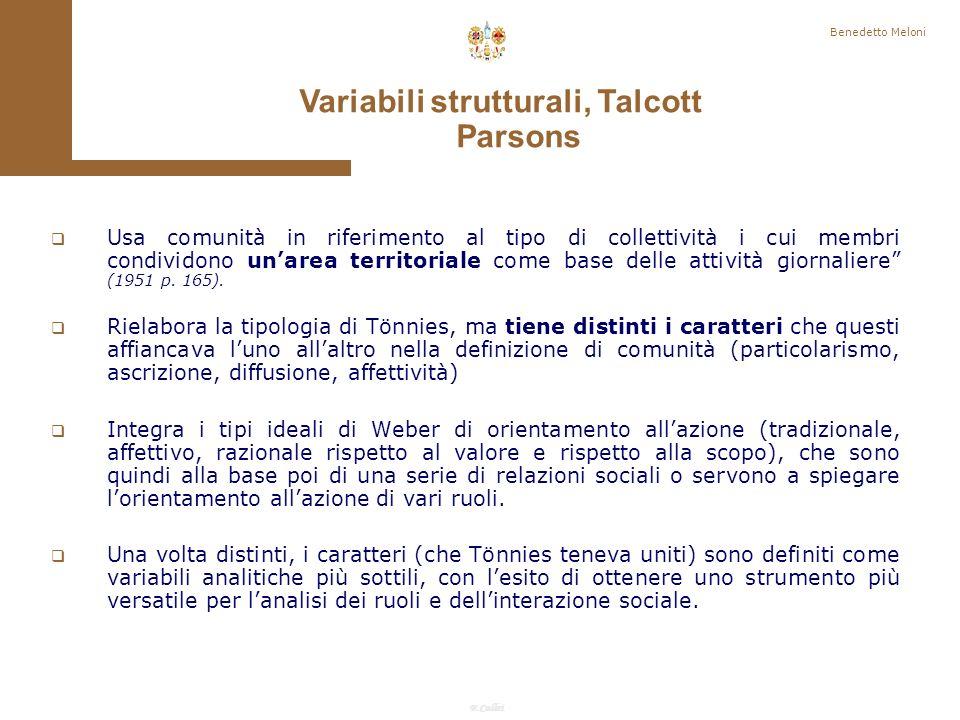 Variabili strutturali, Talcott Parsons