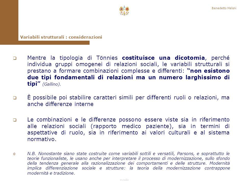 Benedetto Meloni Variabili strutturali : considerazioni.
