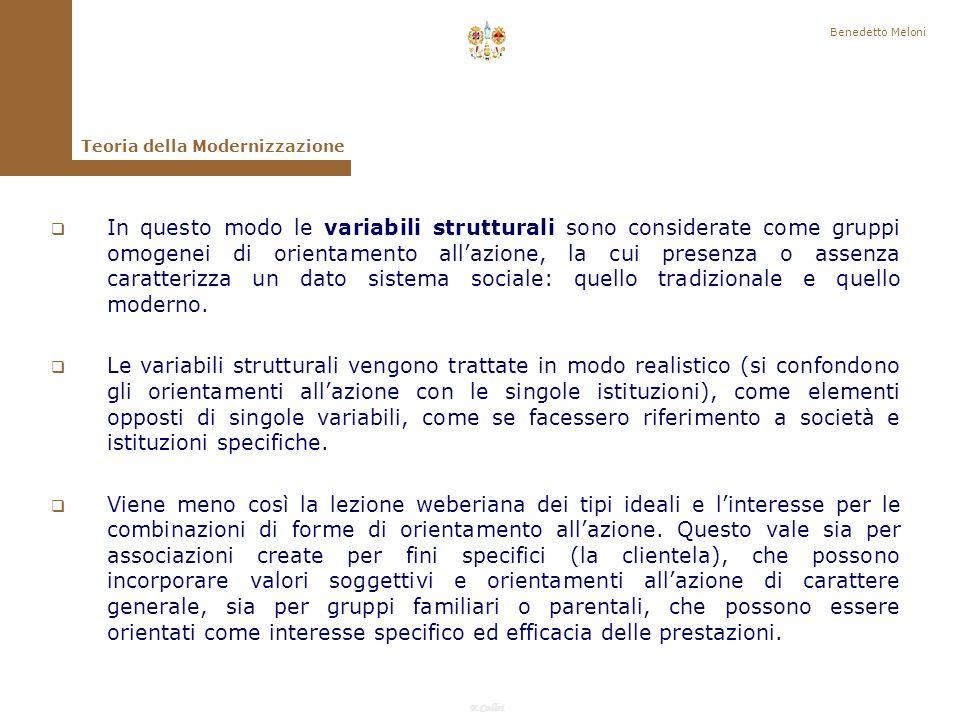 Benedetto Meloni Teoria della Modernizzazione.