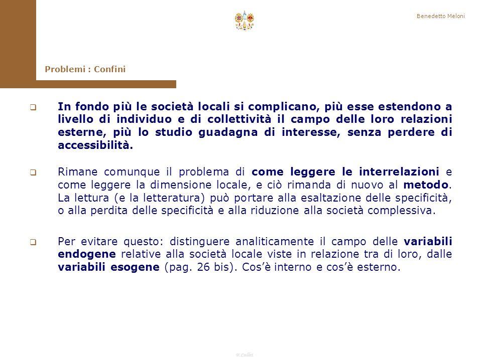 Benedetto Meloni Problemi : Confini.
