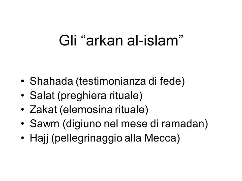 Gli arkan al-islam Shahada (testimonianza di fede)