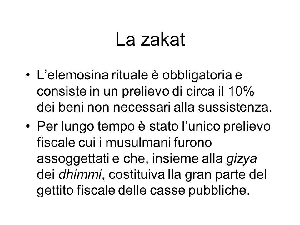 La zakatL'elemosina rituale è obbligatoria e consiste in un prelievo di circa il 10% dei beni non necessari alla sussistenza.