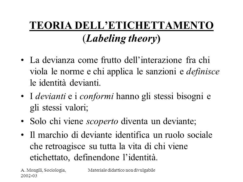 TEORIA DELL'ETICHETTAMENTO (Labeling theory)