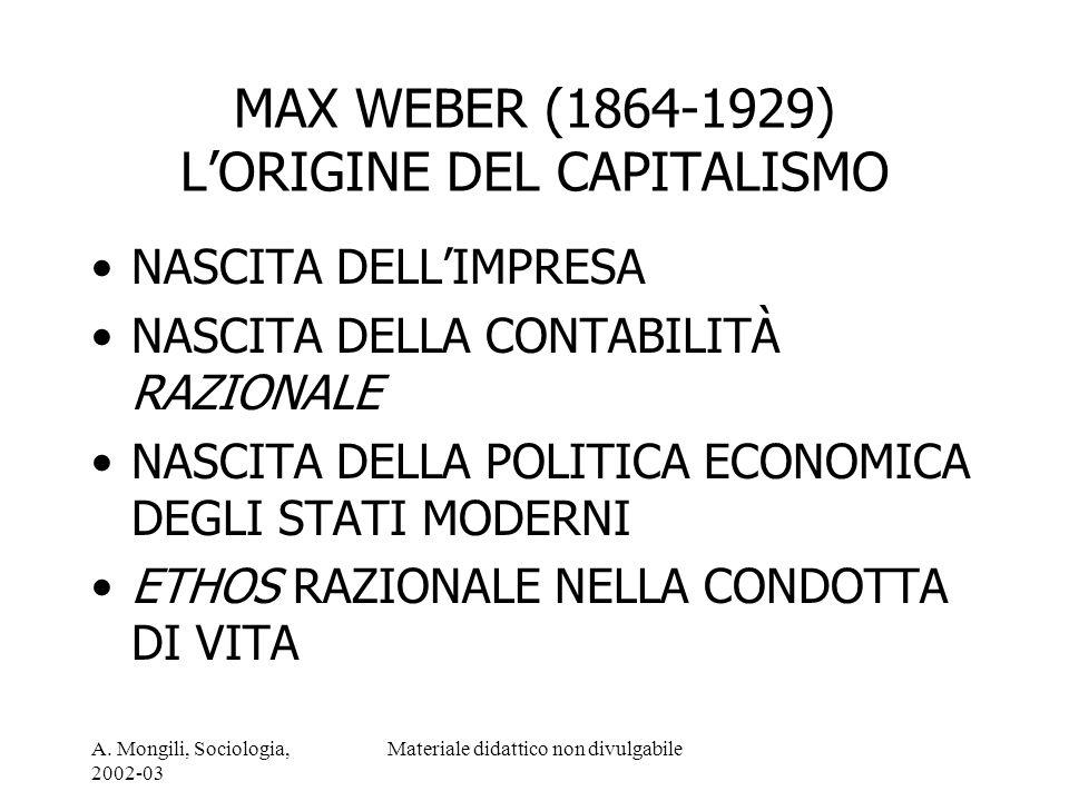 MAX WEBER (1864-1929) L'ORIGINE DEL CAPITALISMO