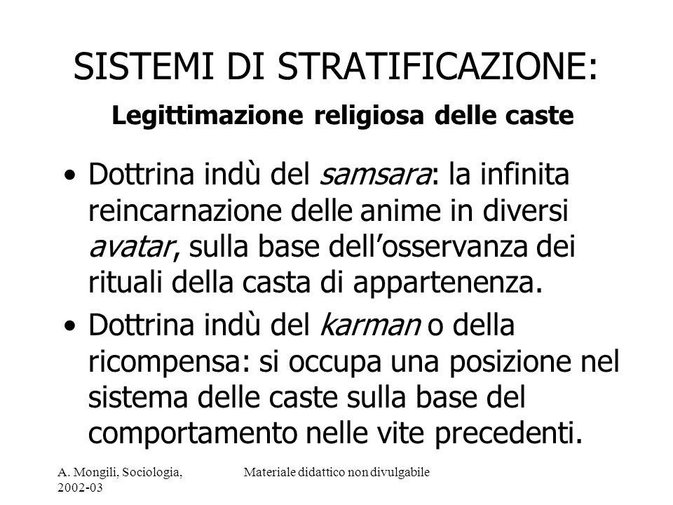 SISTEMI DI STRATIFICAZIONE: Legittimazione religiosa delle caste