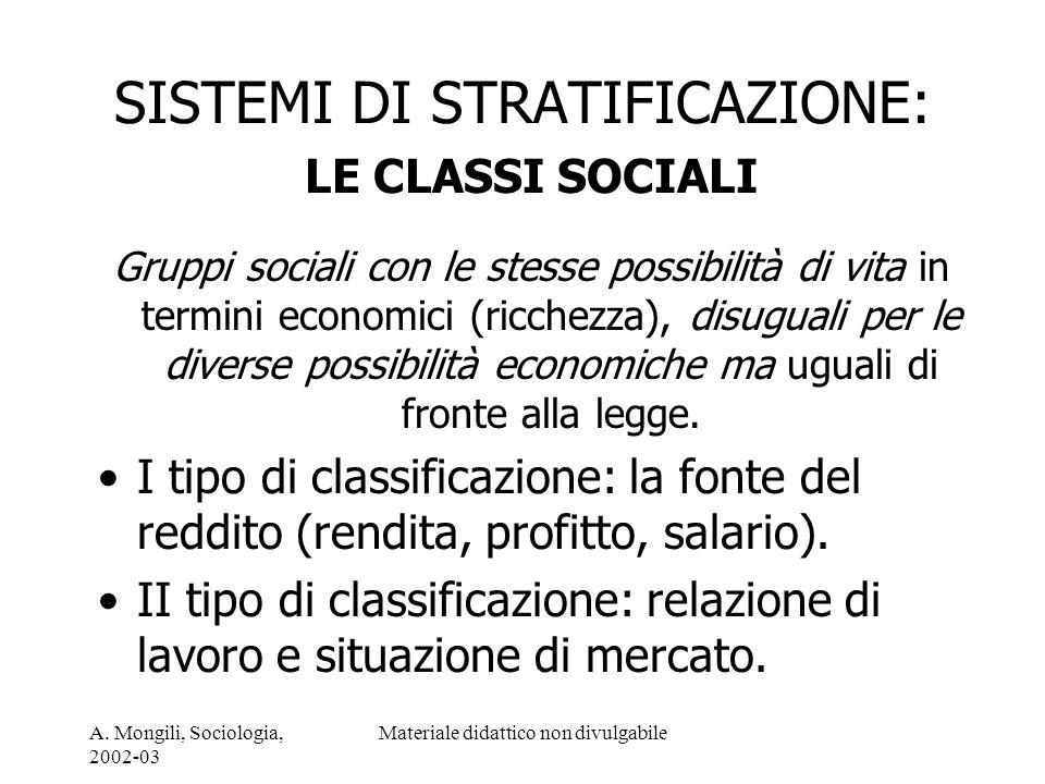 SISTEMI DI STRATIFICAZIONE: LE CLASSI SOCIALI