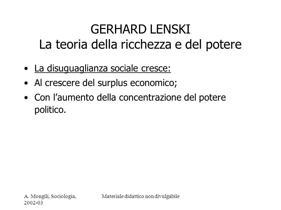 GERHARD LENSKI La teoria della ricchezza e del potere