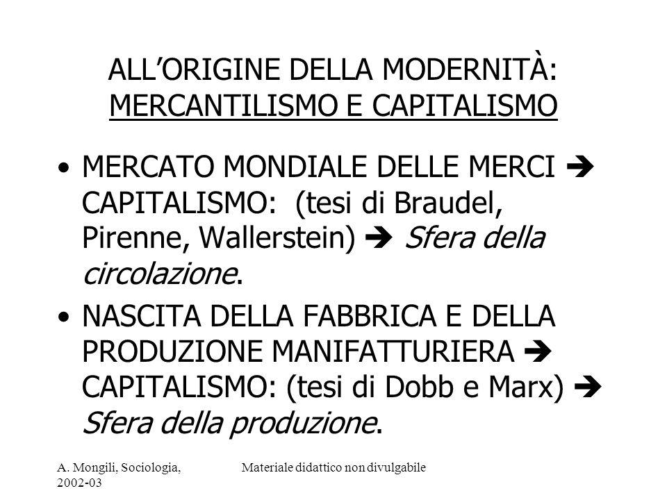 ALL'ORIGINE DELLA MODERNITÀ: MERCANTILISMO E CAPITALISMO