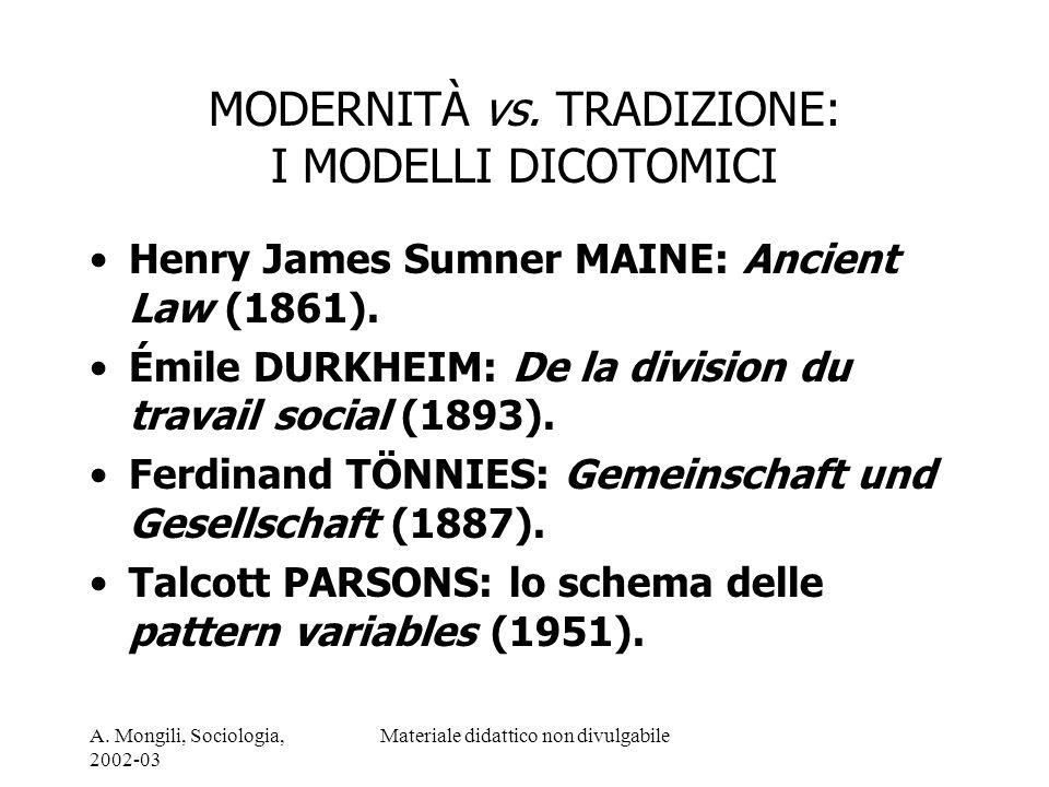 MODERNITÀ vs. TRADIZIONE: I MODELLI DICOTOMICI