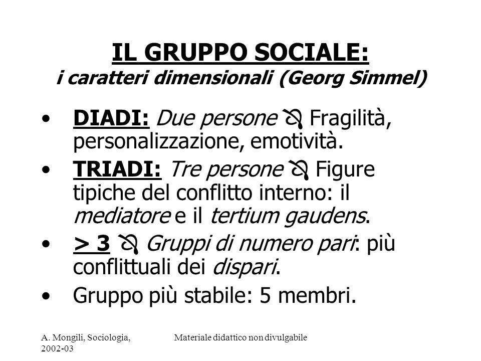 IL GRUPPO SOCIALE: i caratteri dimensionali (Georg Simmel)