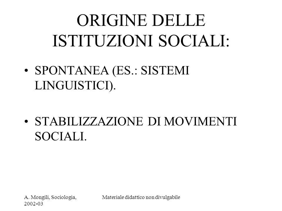 ORIGINE DELLE ISTITUZIONI SOCIALI: