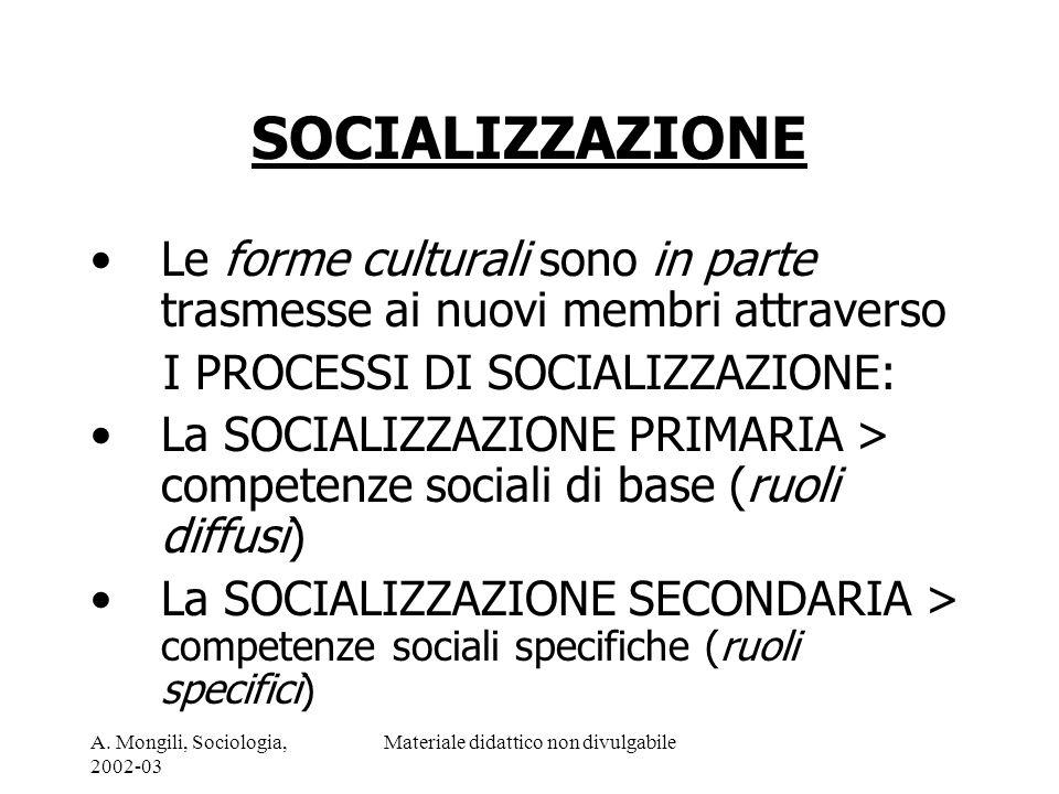 SOCIALIZZAZIONE Le forme culturali sono in parte trasmesse ai nuovi membri attraverso. I PROCESSI DI SOCIALIZZAZIONE:
