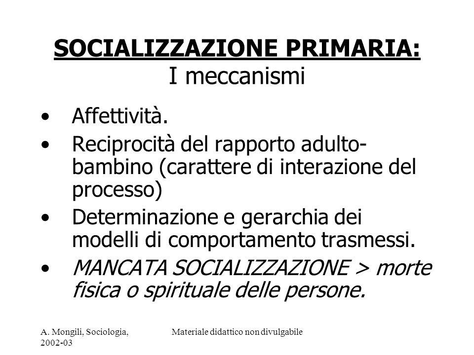 SOCIALIZZAZIONE PRIMARIA: I meccanismi