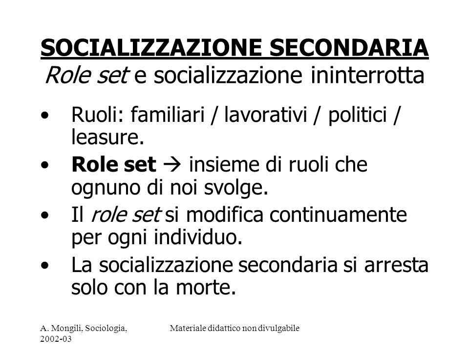 SOCIALIZZAZIONE SECONDARIA Role set e socializzazione ininterrotta