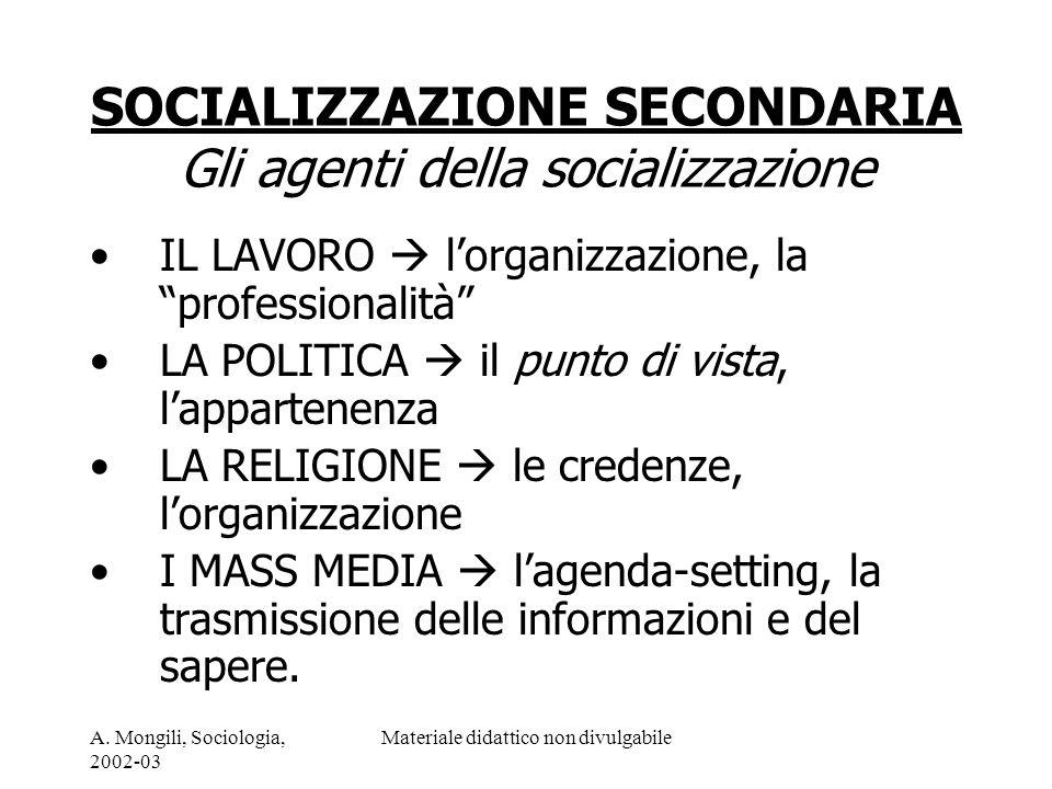 SOCIALIZZAZIONE SECONDARIA Gli agenti della socializzazione