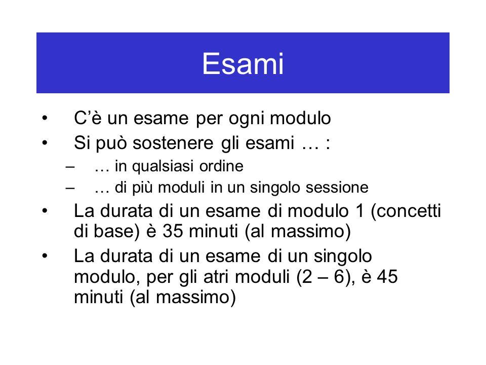 Esami C'è un esame per ogni modulo Si può sostenere gli esami … :
