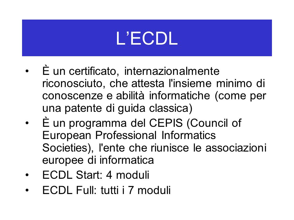 L'ECDL