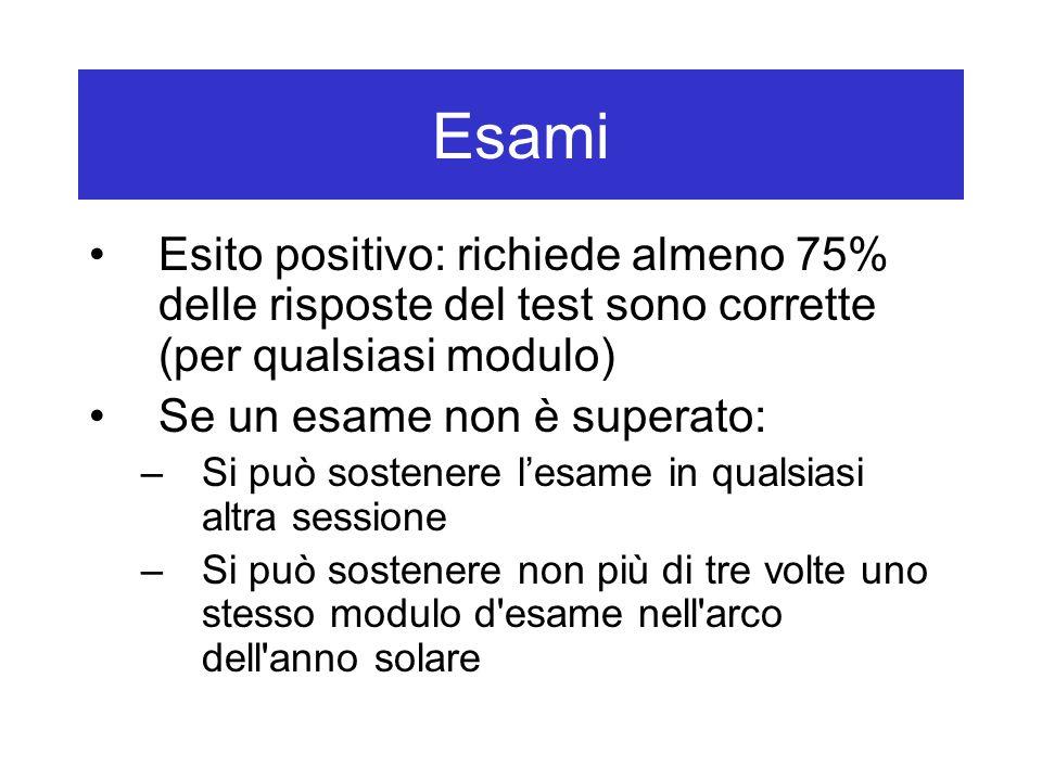 Esami Esito positivo: richiede almeno 75% delle risposte del test sono corrette (per qualsiasi modulo)