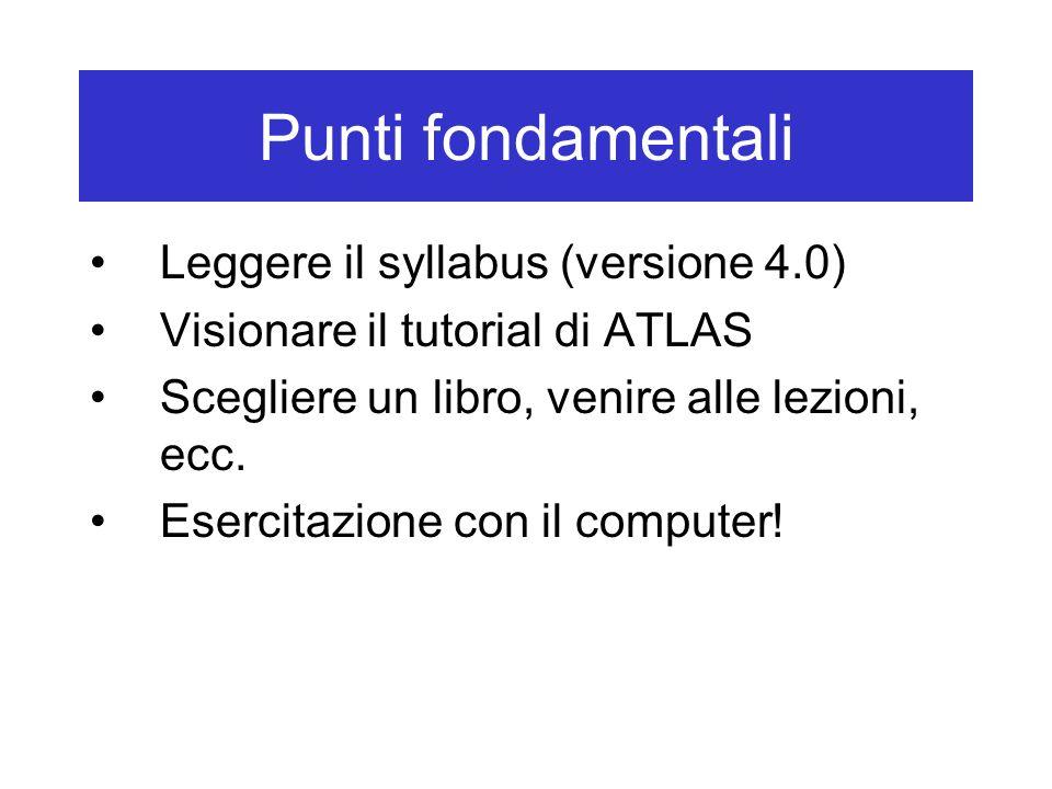 Punti fondamentali Leggere il syllabus (versione 4.0)