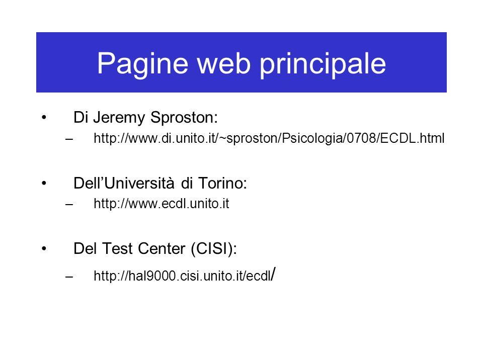 Pagine web principale Di Jeremy Sproston: Dell'Università di Torino: