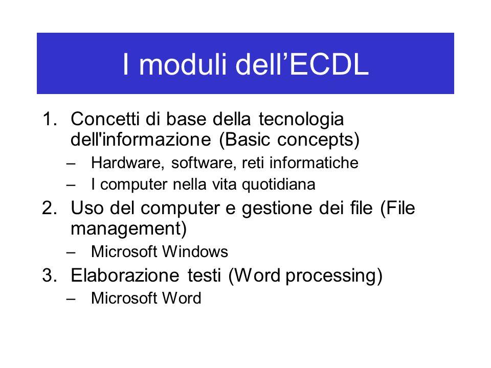 I moduli dell'ECDL Concetti di base della tecnologia dell informazione (Basic concepts) Hardware, software, reti informatiche.