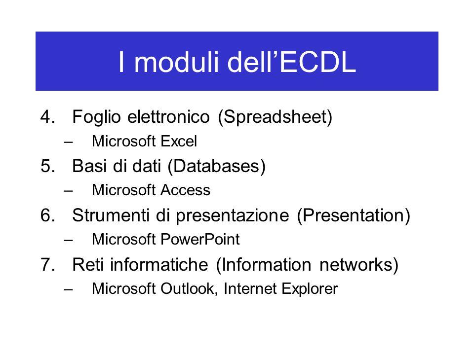 I moduli dell'ECDL Foglio elettronico (Spreadsheet)