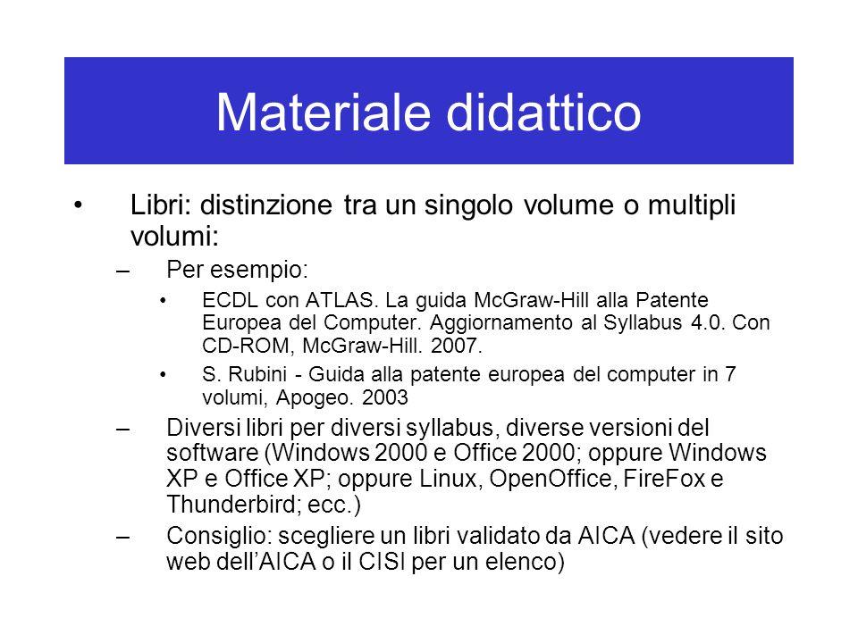Materiale didattico Libri: distinzione tra un singolo volume o multipli volumi: Per esempio: