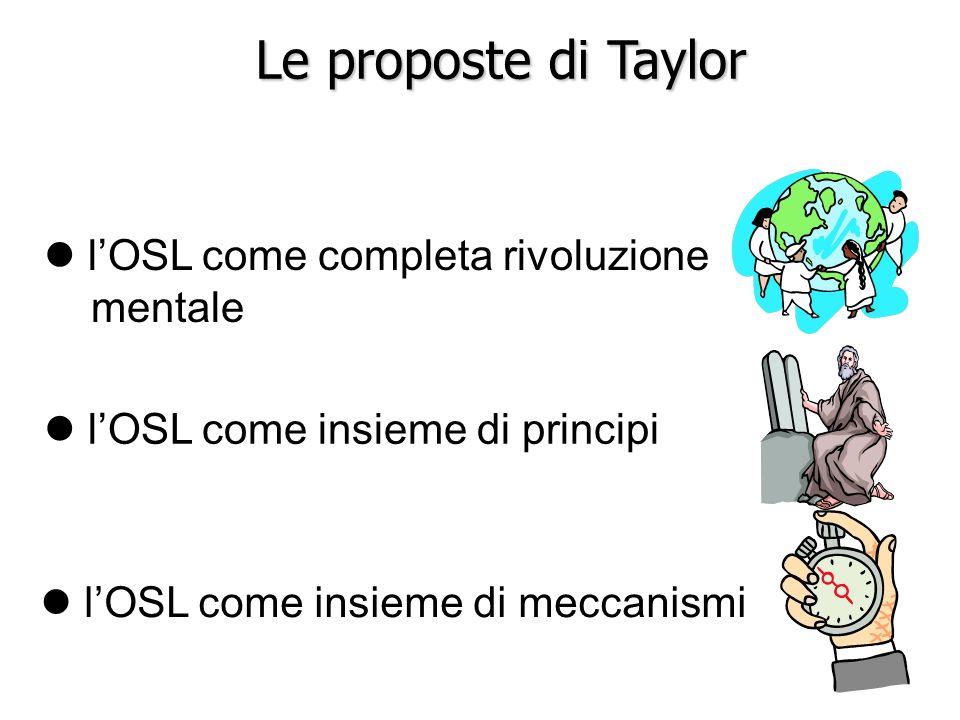 Le proposte di Taylor l'OSL come completa rivoluzione mentale