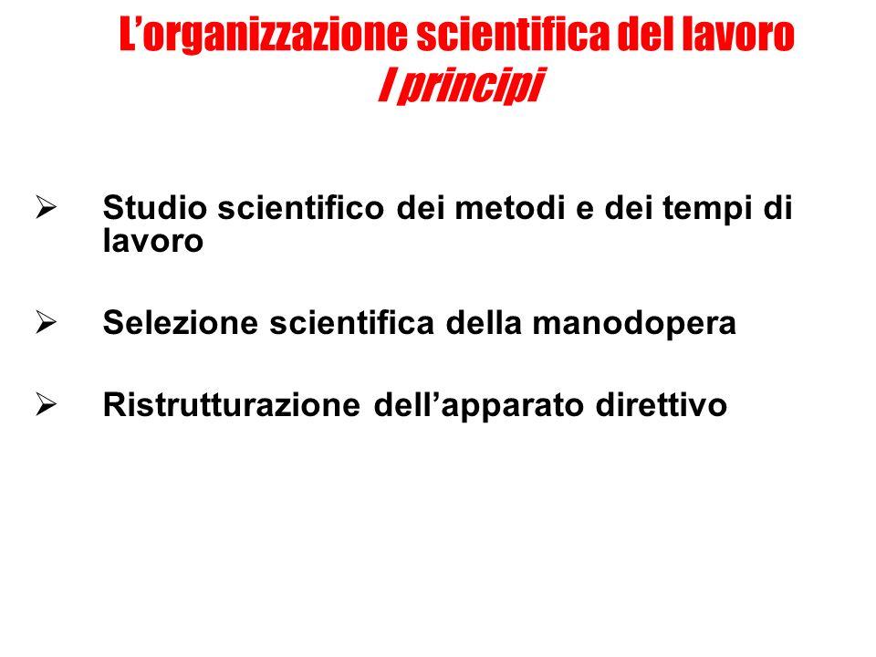 L'organizzazione scientifica del lavoro I principi