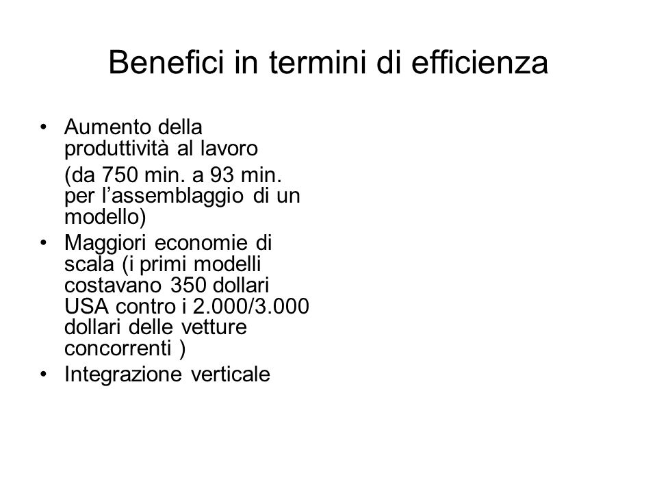 Benefici in termini di efficienza