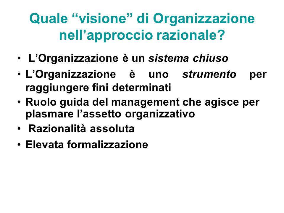 Quale visione di Organizzazione nell'approccio razionale