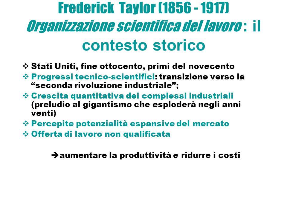 Frederick Taylor (1856 - 1917) Organizzazione scientifica del lavoro : il contesto storico