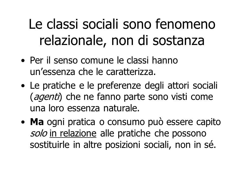 Le classi sociali sono fenomeno relazionale, non di sostanza