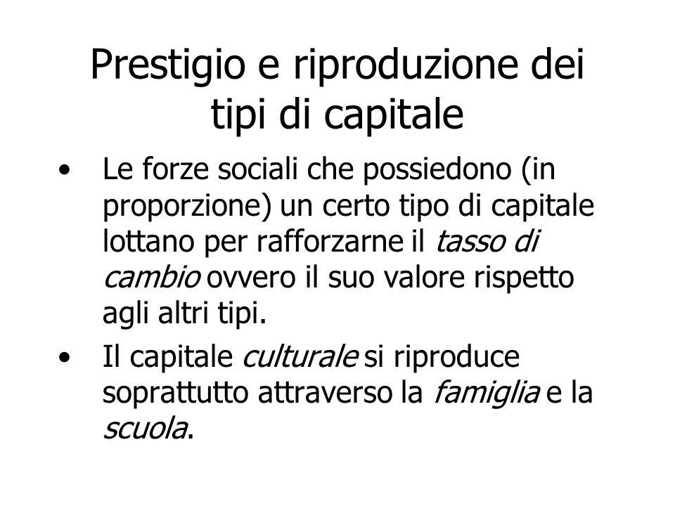 Prestigio e riproduzione dei tipi di capitale
