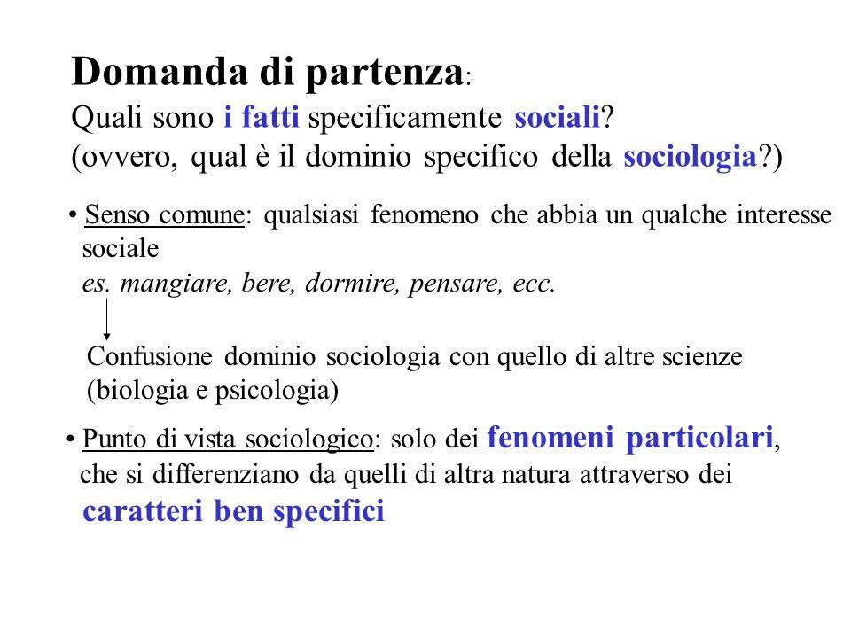Domanda di partenza: Quali sono i fatti specificamente sociali