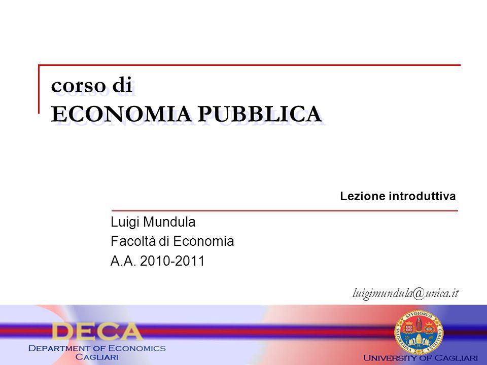 corso di ECONOMIA PUBBLICA