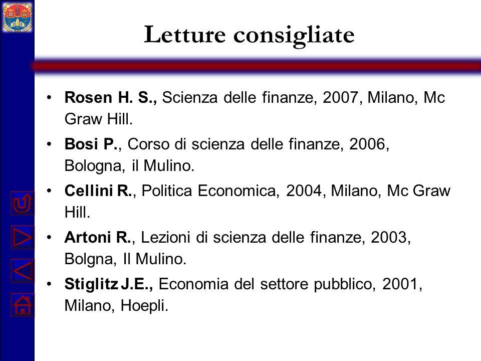 Letture consigliate Rosen H. S., Scienza delle finanze, 2007, Milano, Mc Graw Hill.