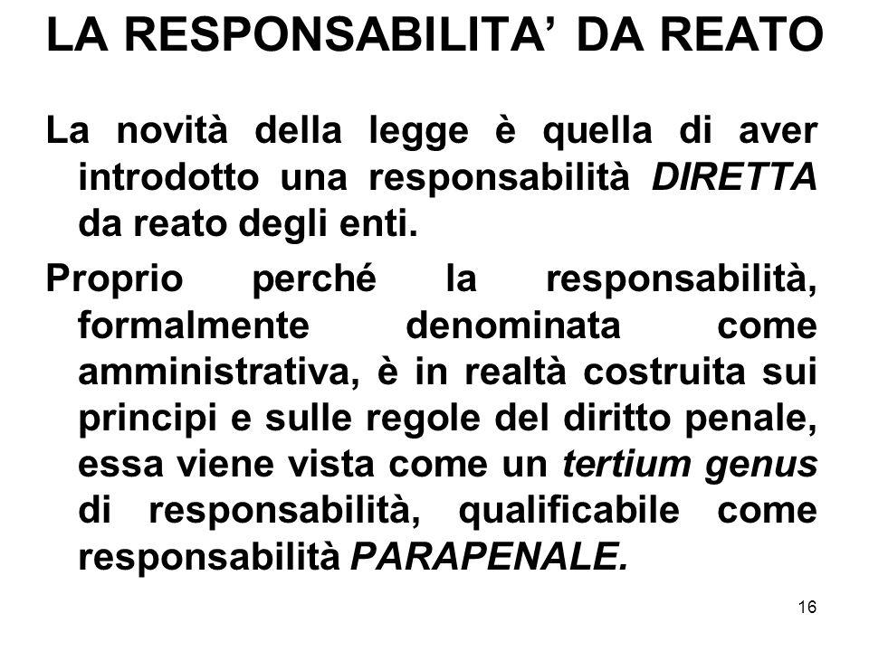 LA RESPONSABILITA' DA REATO
